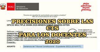 100% de CTS para los docentes 2020