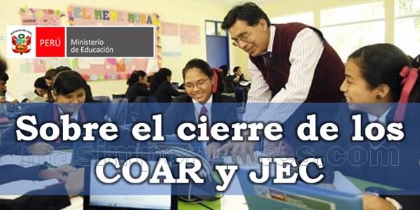 Cierre de los COAR y Colegios JEC 2021