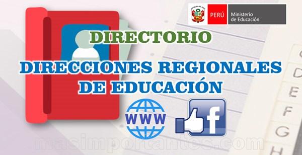 Directorio de Direcciones Regionales de Educación del perú