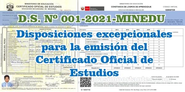 Disposiciones para la emisión del Certificado de Estudios