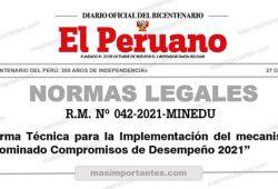 Norma para la implementación de los Compromisos de Desempeño 2021