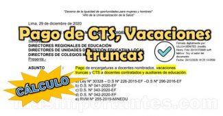 Pago de CTS, vacaciones truncas y encargaturas de Dirección a Docentes Contratados
