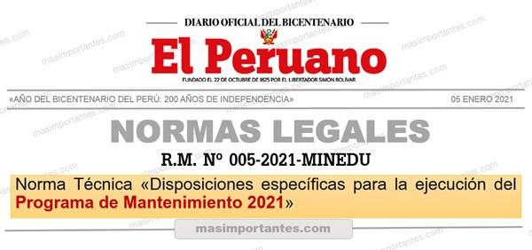 Programa de Mantenimiento 2021