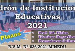 PAdrón de IE con plazas de Ed. Física, Técnicos Deporivos y Promotores Culturales