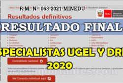 Resultado Final de Evaluación de especialistas para Ugel y DRE 2020
