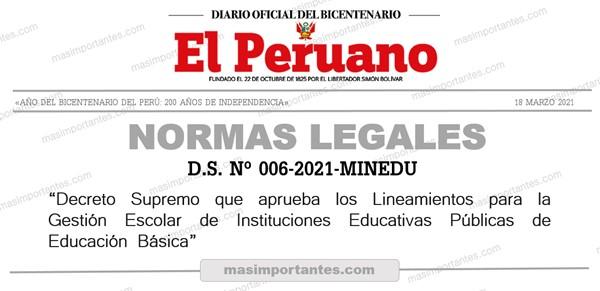 Lineamiestos para la Gestión de las Instituciones Educativas.