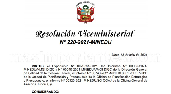 RVM Nº 220-2021-MINEDU