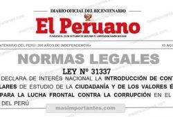 Ley 31337 Intorucción de contenidos curriculares