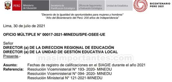 Fechas de registro de calificaciones en siagie 2021