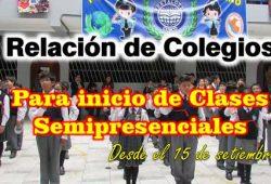 Lista de Colegios para clases semipresenciales