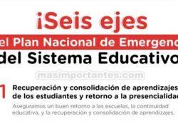 6 ejes Plan Nacional de Emergencia del Sistema Educativo